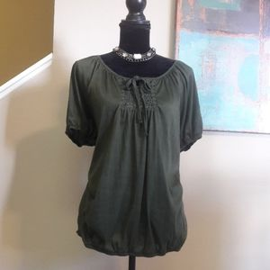 Jason Maxwell/ Olive/ Floral Embroidered /Top